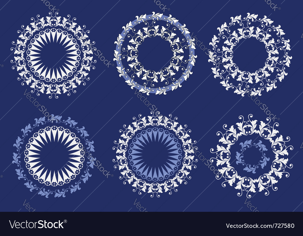 Floral ornate pattern set lace style vector | Price: 1 Credit (USD $1)