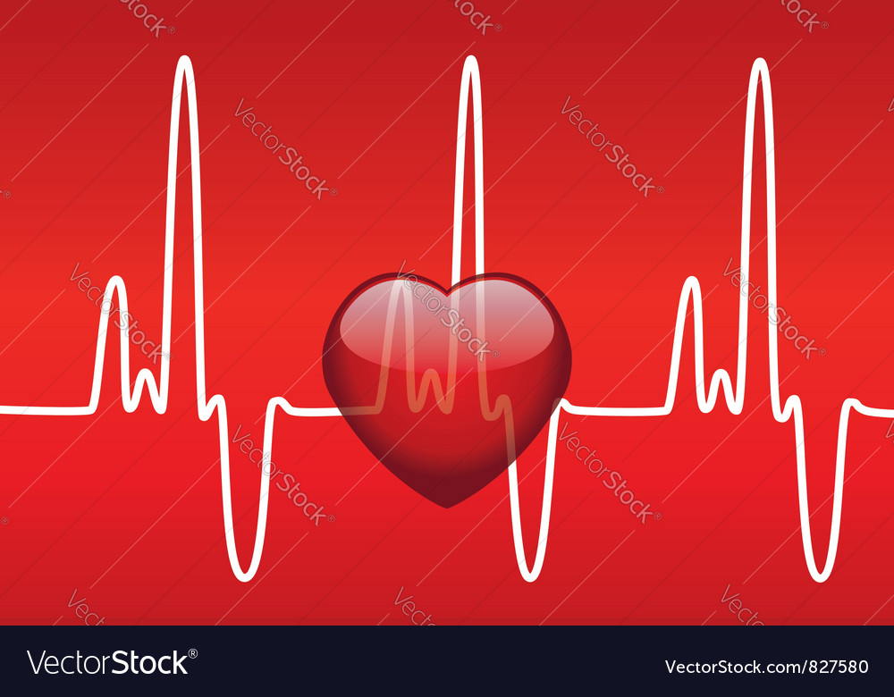 Heart and heartbeat vector | Price: 1 Credit (USD $1)