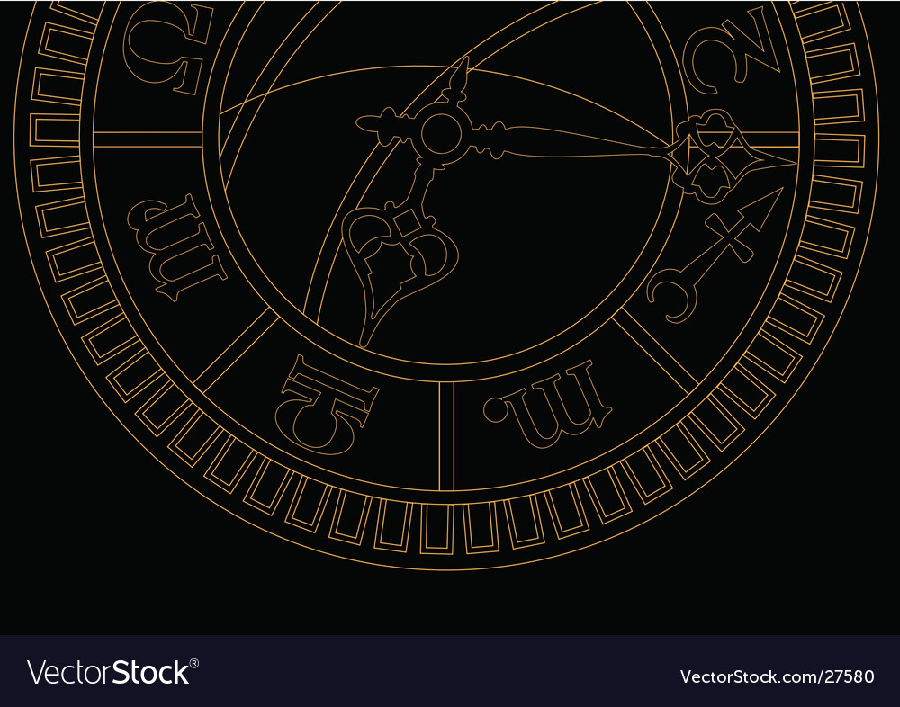 Medieval astronomical clock vector | Price: 1 Credit (USD $1)