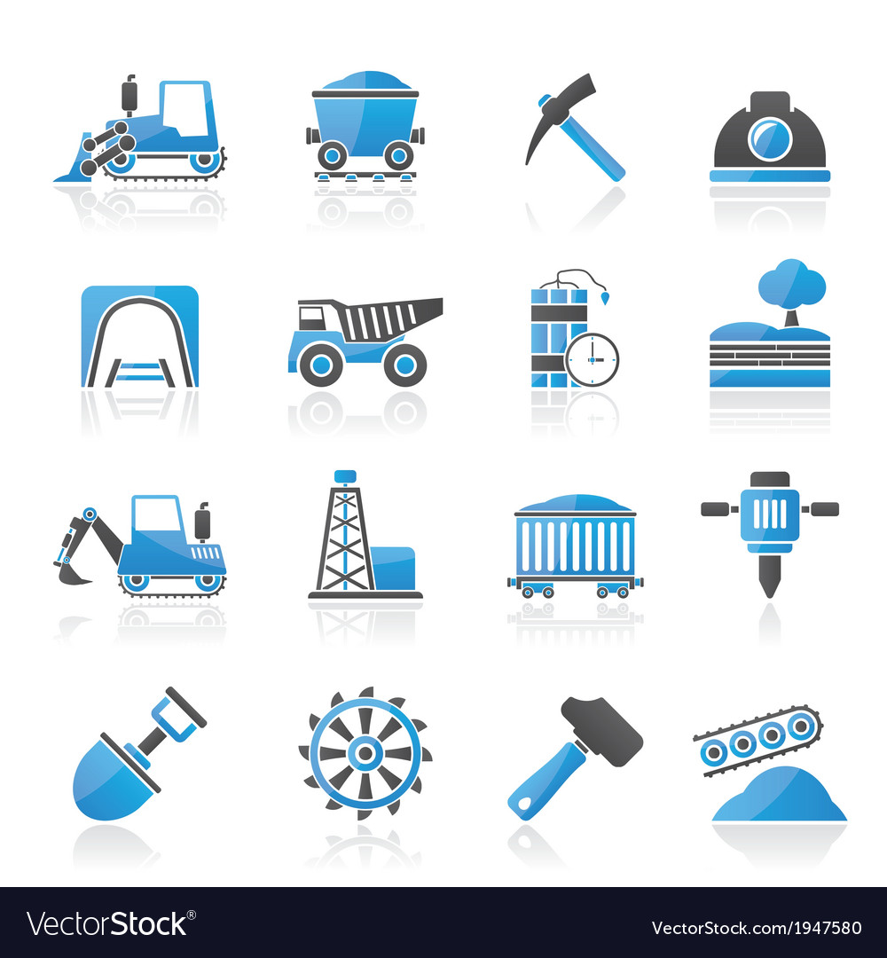 Mining and quarrying industry icons vector