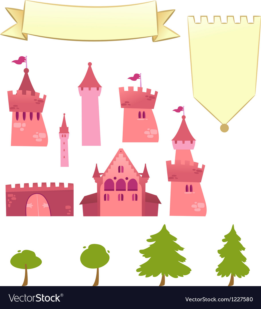 Set of castle design elements vector | Price: 1 Credit (USD $1)