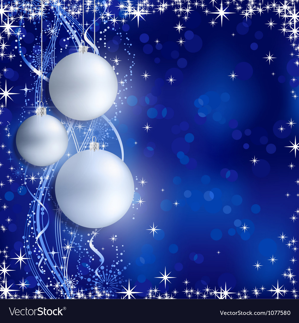 Silver blue christmas background with hanging baub vector | Price: 1 Credit (USD $1)