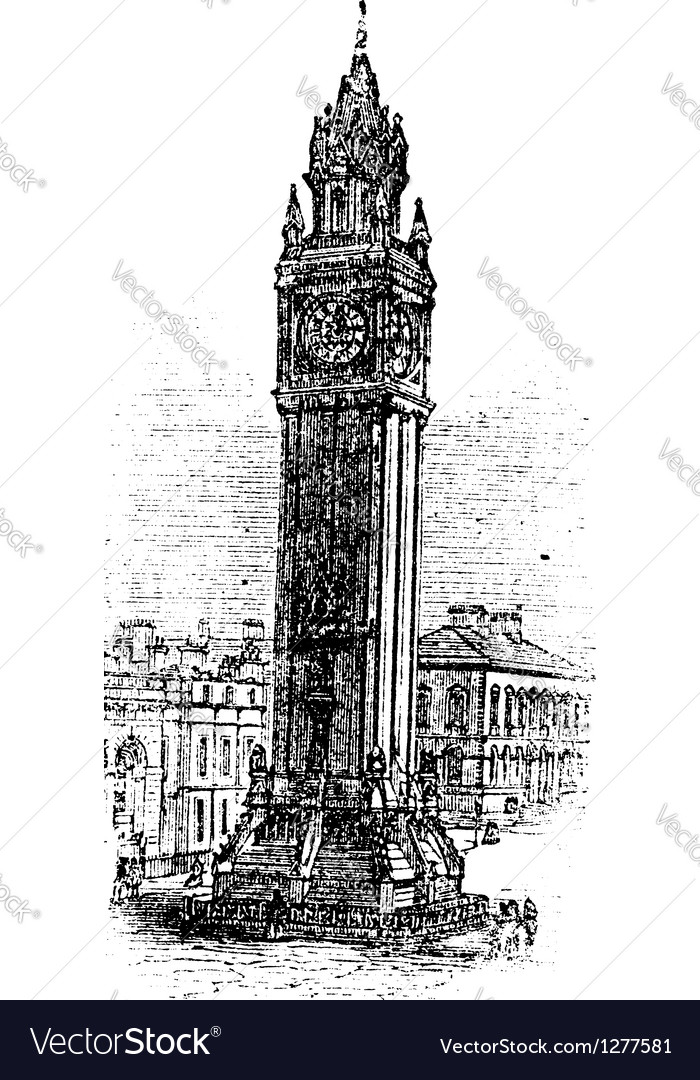 Albert memorial clock engraving vector | Price: 1 Credit (USD $1)