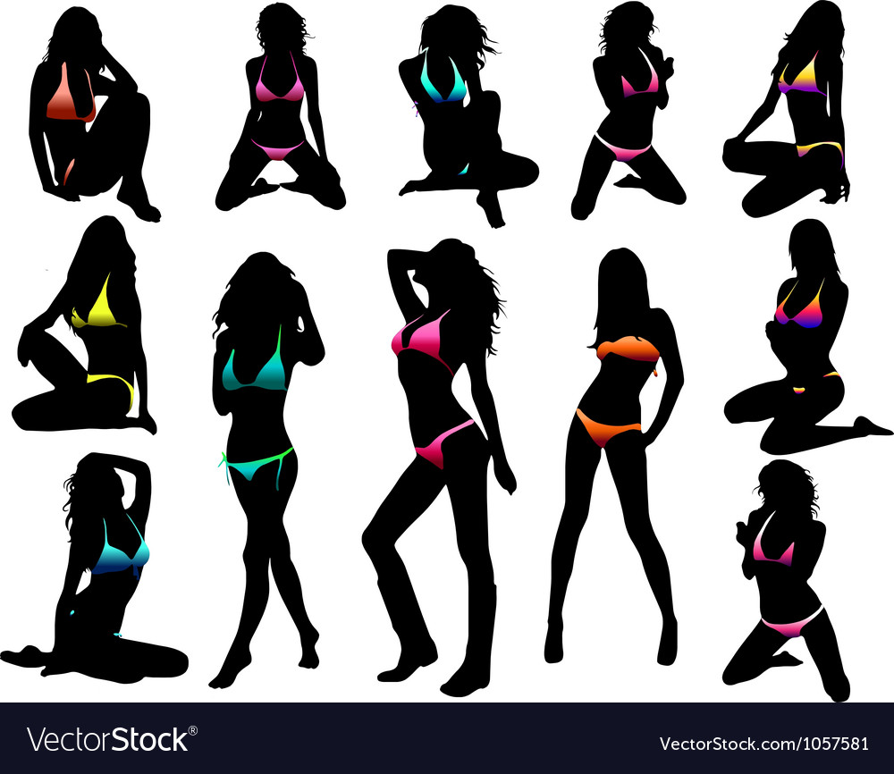 Bikini girls silhouette - vector | Price: 1 Credit (USD $1)