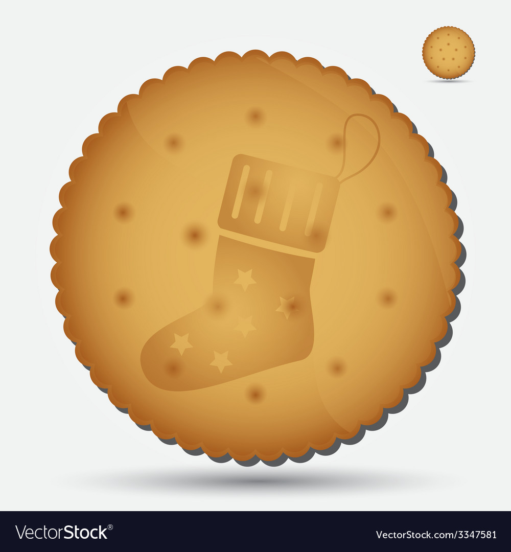 Christmas brown biscuit with sock symbol eps10 vector | Price: 1 Credit (USD $1)