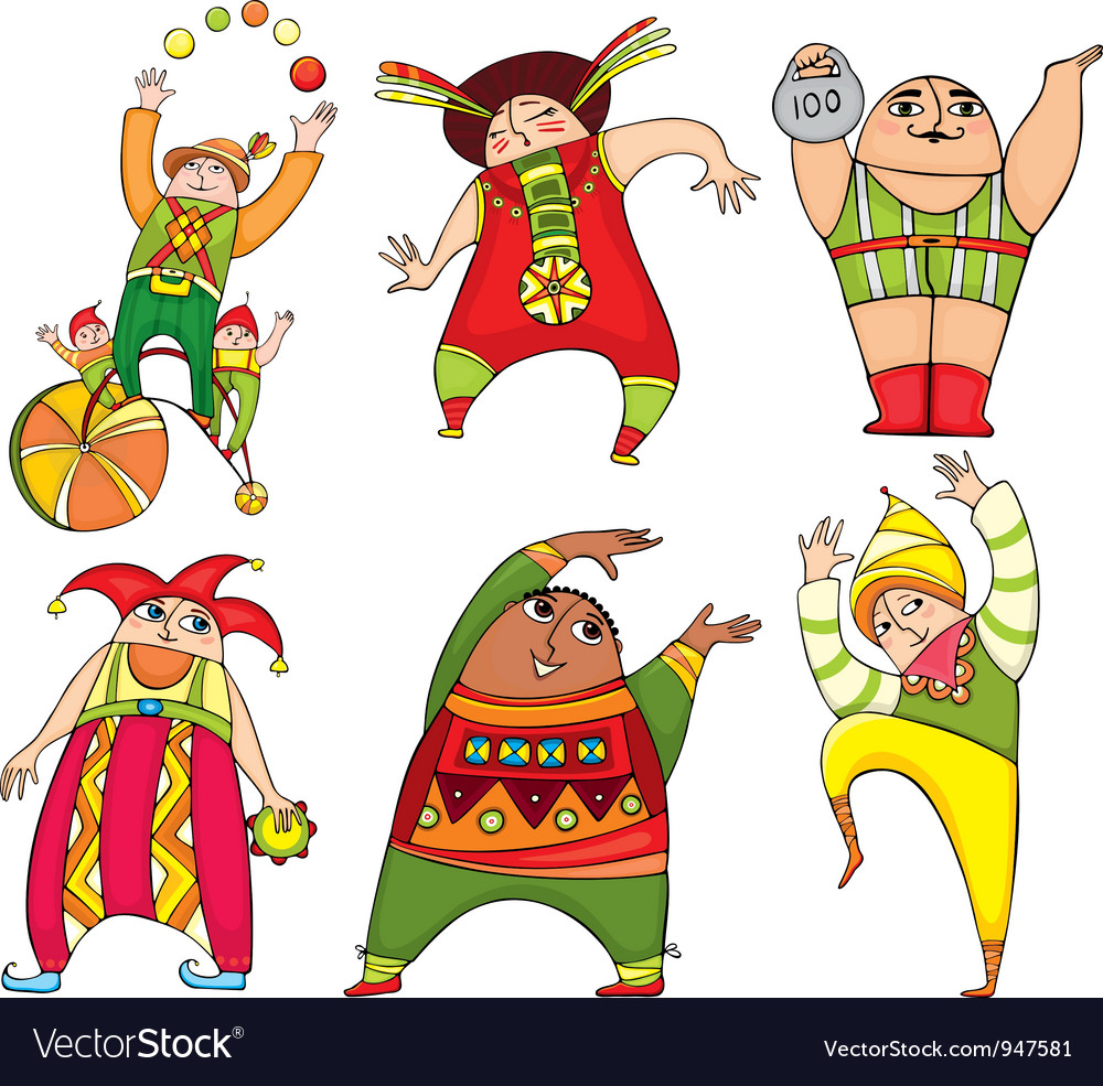 Circus actor set vector | Price: 3 Credit (USD $3)