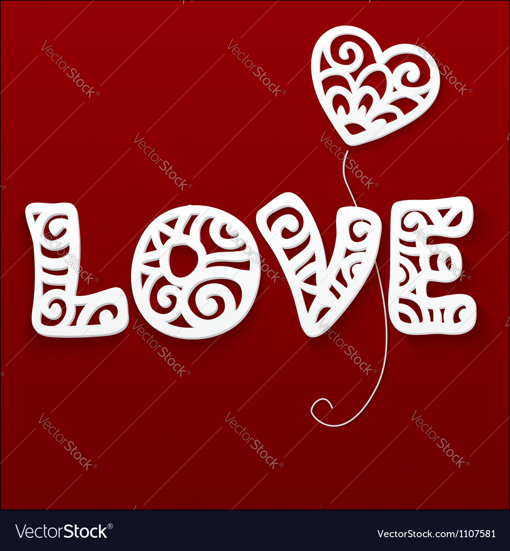 Cut out paper lacy love sign vector | Price: 1 Credit (USD $1)