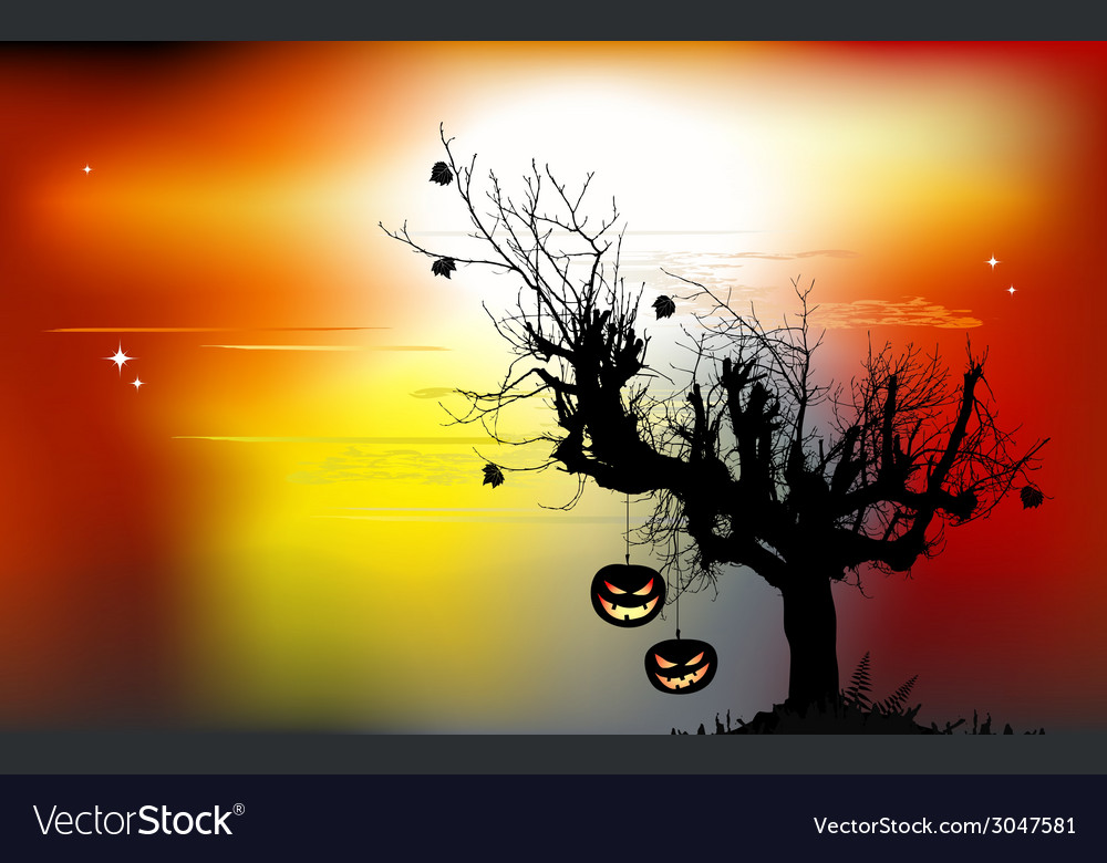 Halloween background with the scary tree vector | Price: 1 Credit (USD $1)