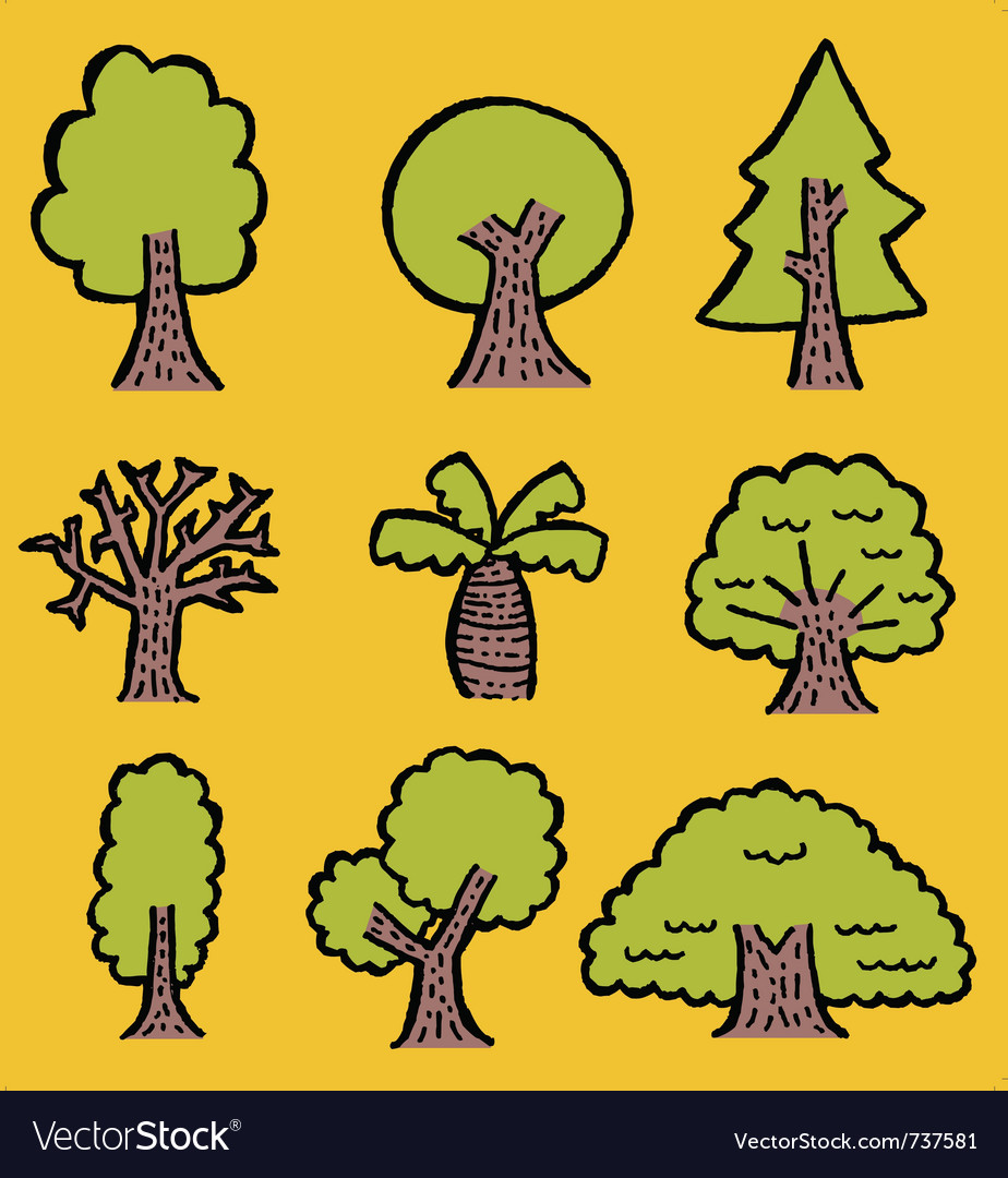 Handdrawn trees vector