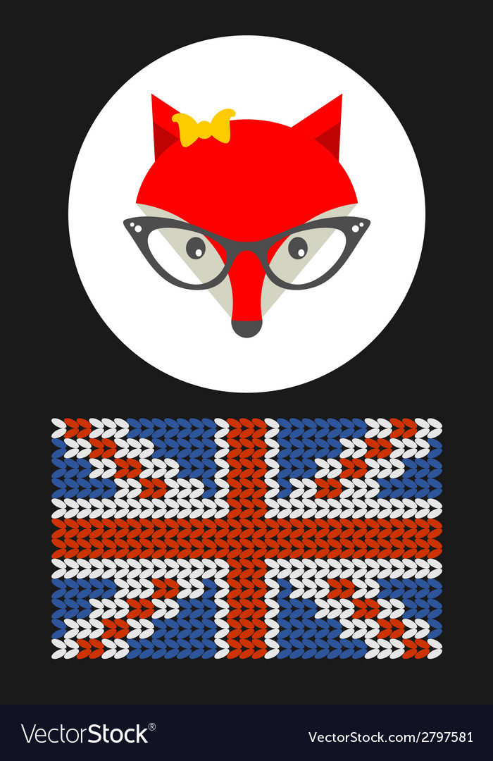 Hipster lady fox with british flag vector | Price: 1 Credit (USD $1)