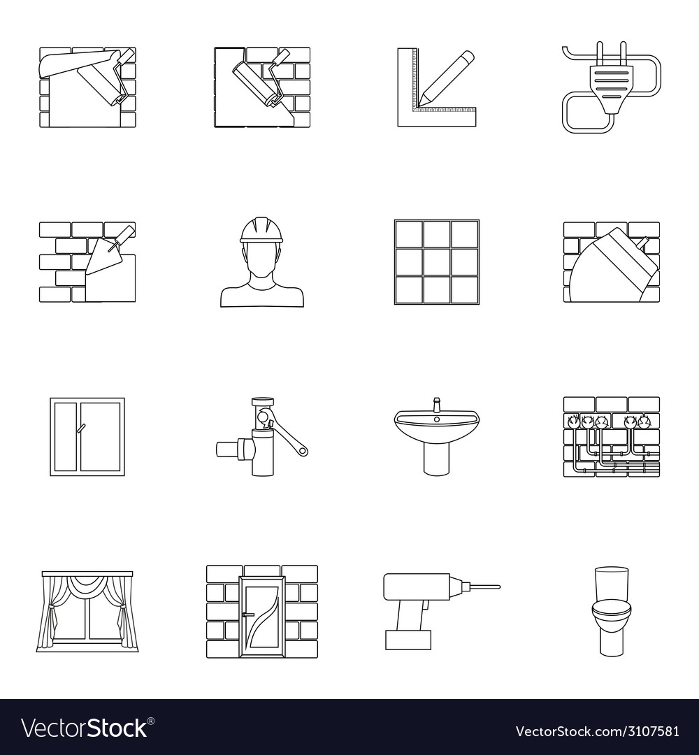 Home repair icons outline vector | Price: 1 Credit (USD $1)