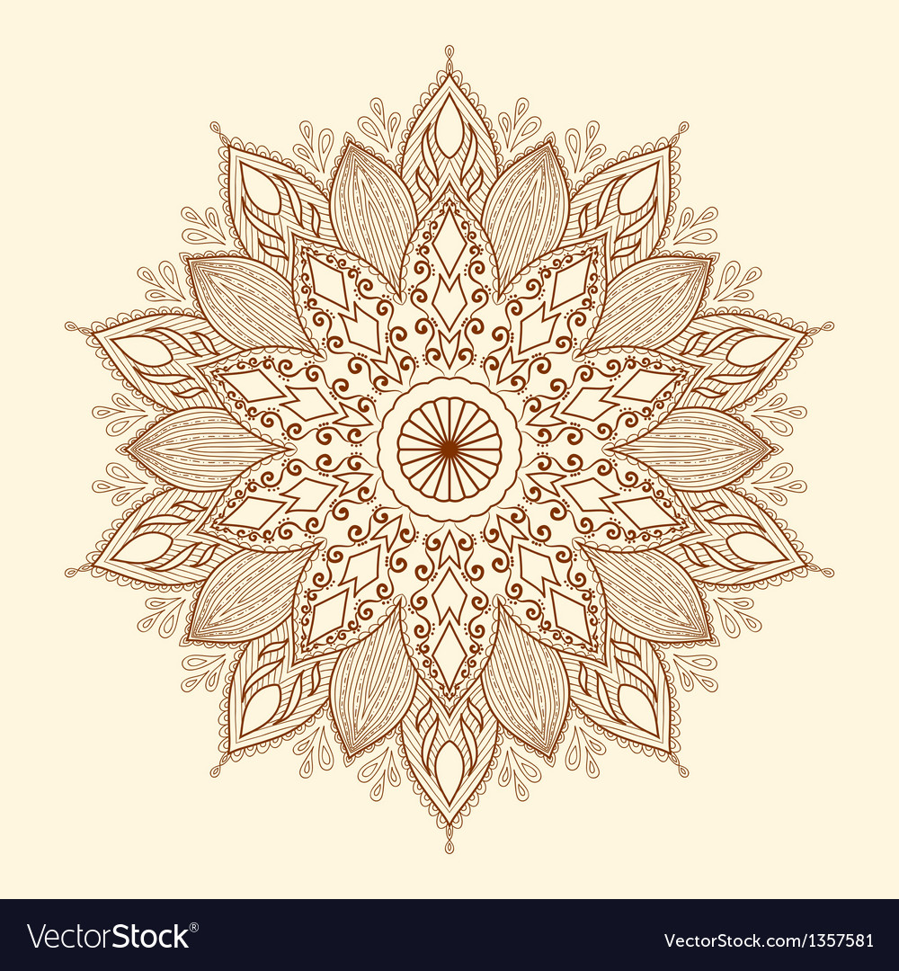 Mandala beautiful hand-drawn flower vector | Price: 1 Credit (USD $1)