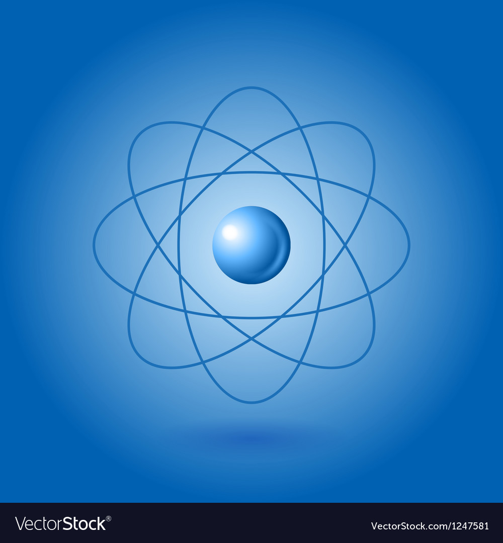 Orbital model of atom on blue background vector | Price: 1 Credit (USD $1)