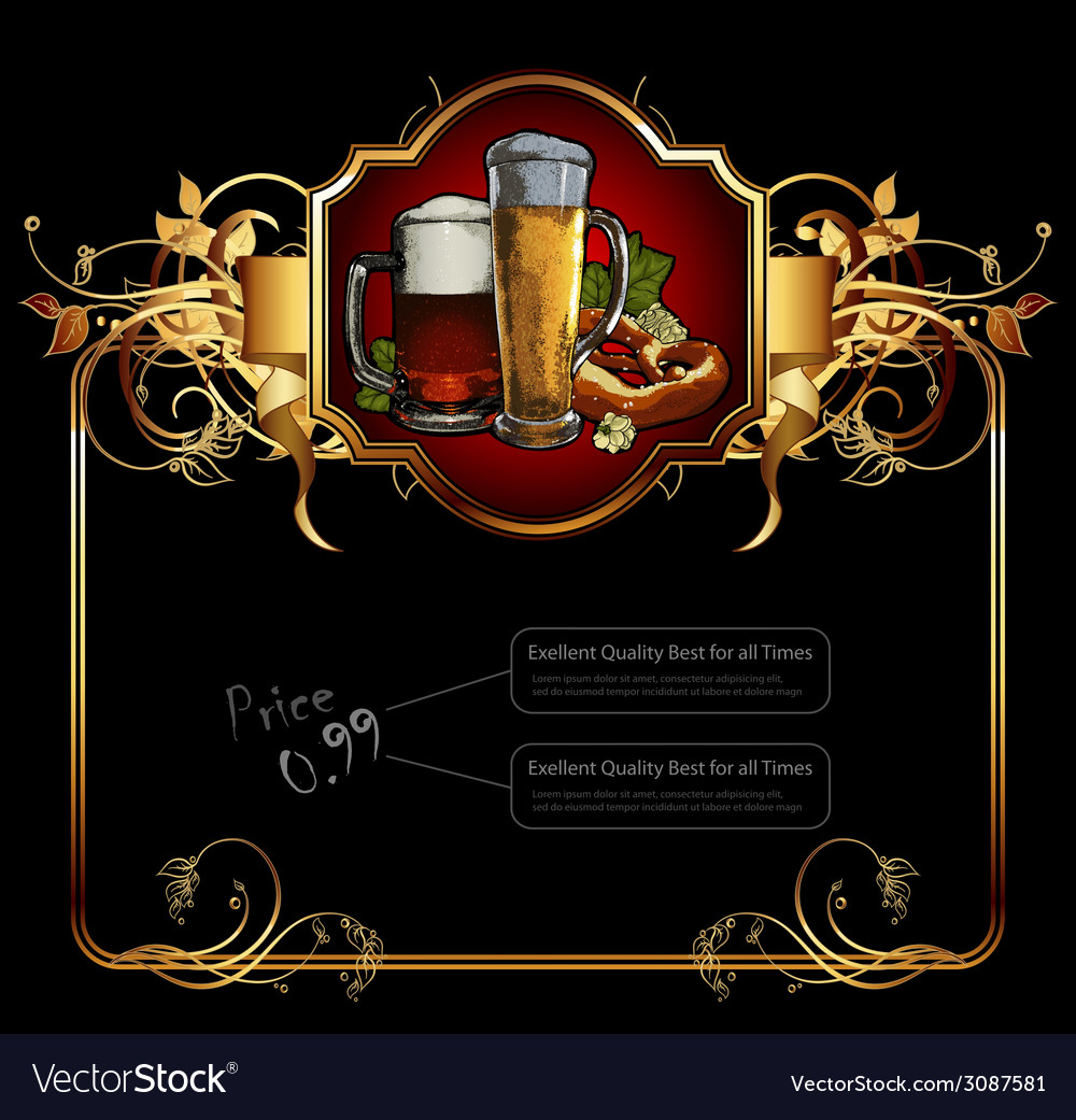Ornate frame with beer elements vector | Price: 1 Credit (USD $1)