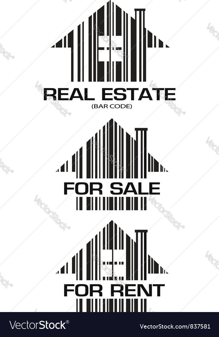 Real estate barcode houses vector | Price: 1 Credit (USD $1)