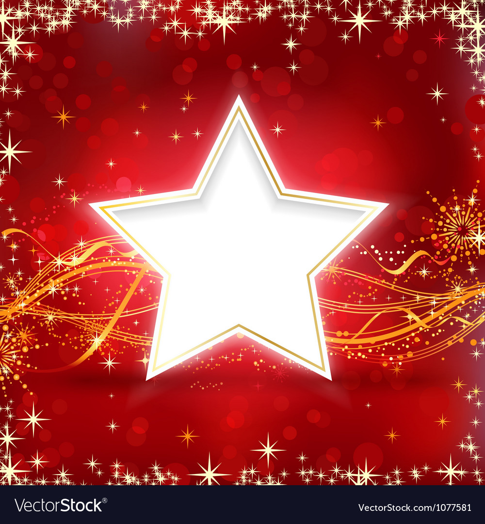 Red golden christmas star background vector | Price: 1 Credit (USD $1)