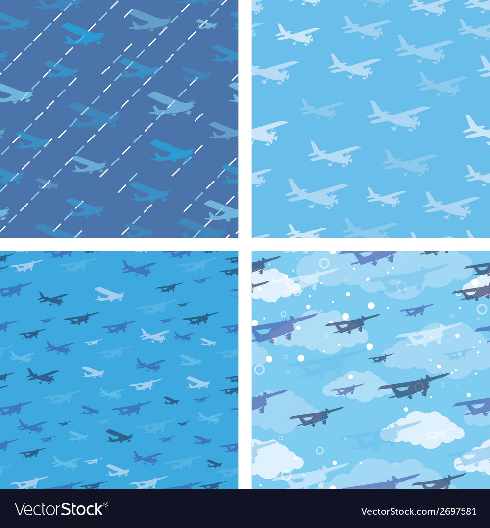 Seamless patterns with planes vector | Price: 1 Credit (USD $1)