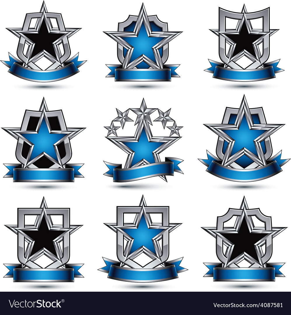 Set of silvery heraldic 3d glossy icons with curvy vector | Price: 1 Credit (USD $1)