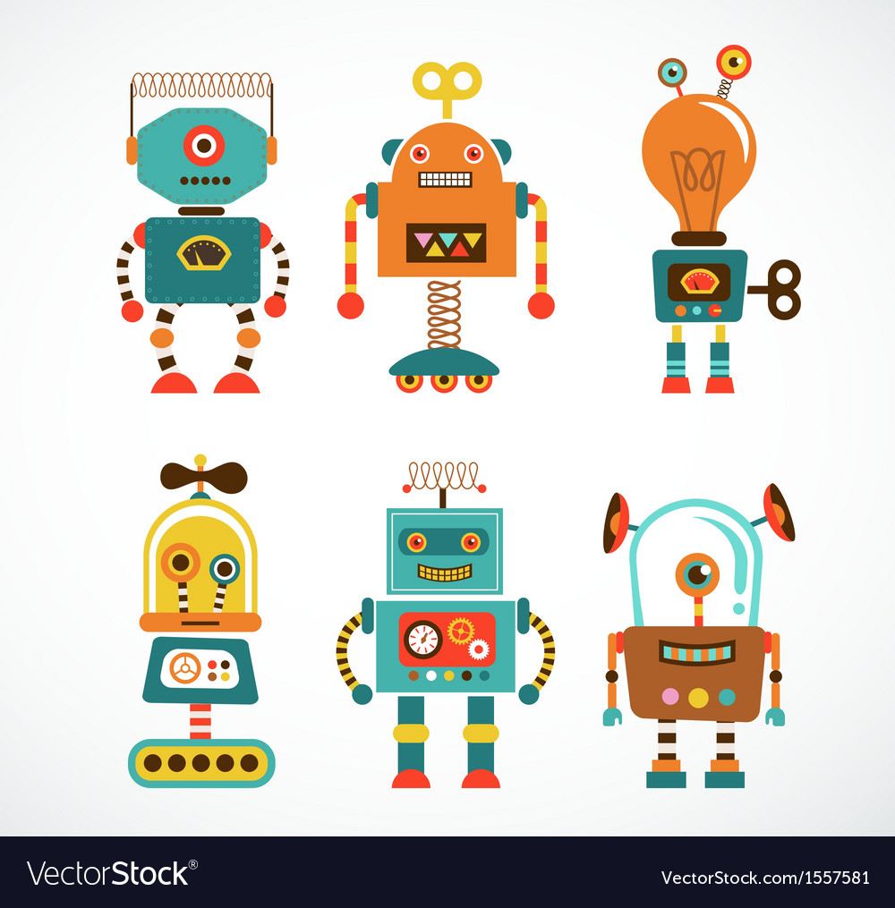 Set of vintage robot icons vector | Price: 3 Credit (USD $3)