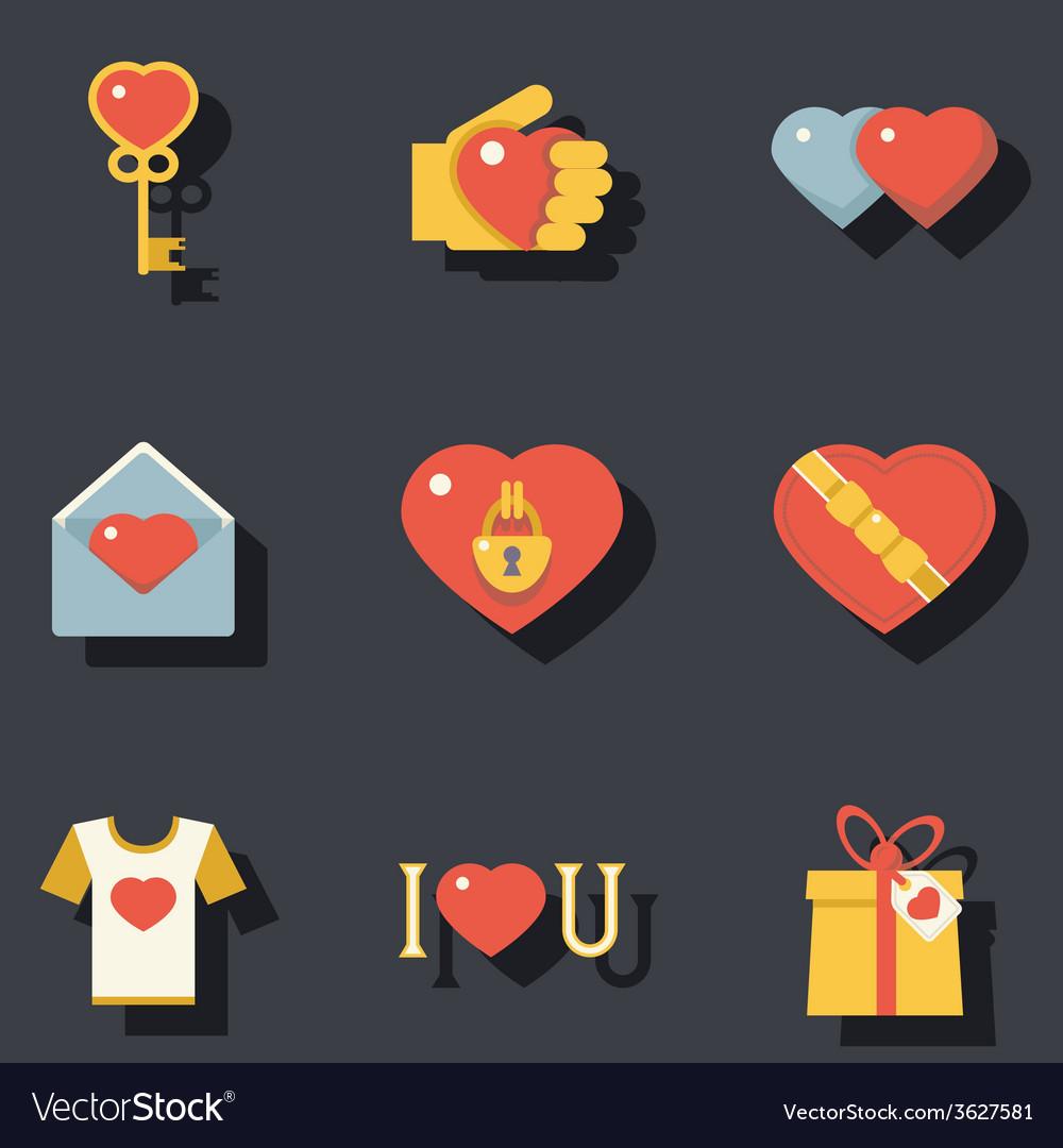 St valentines day symbols accessories icons set vector | Price: 1 Credit (USD $1)