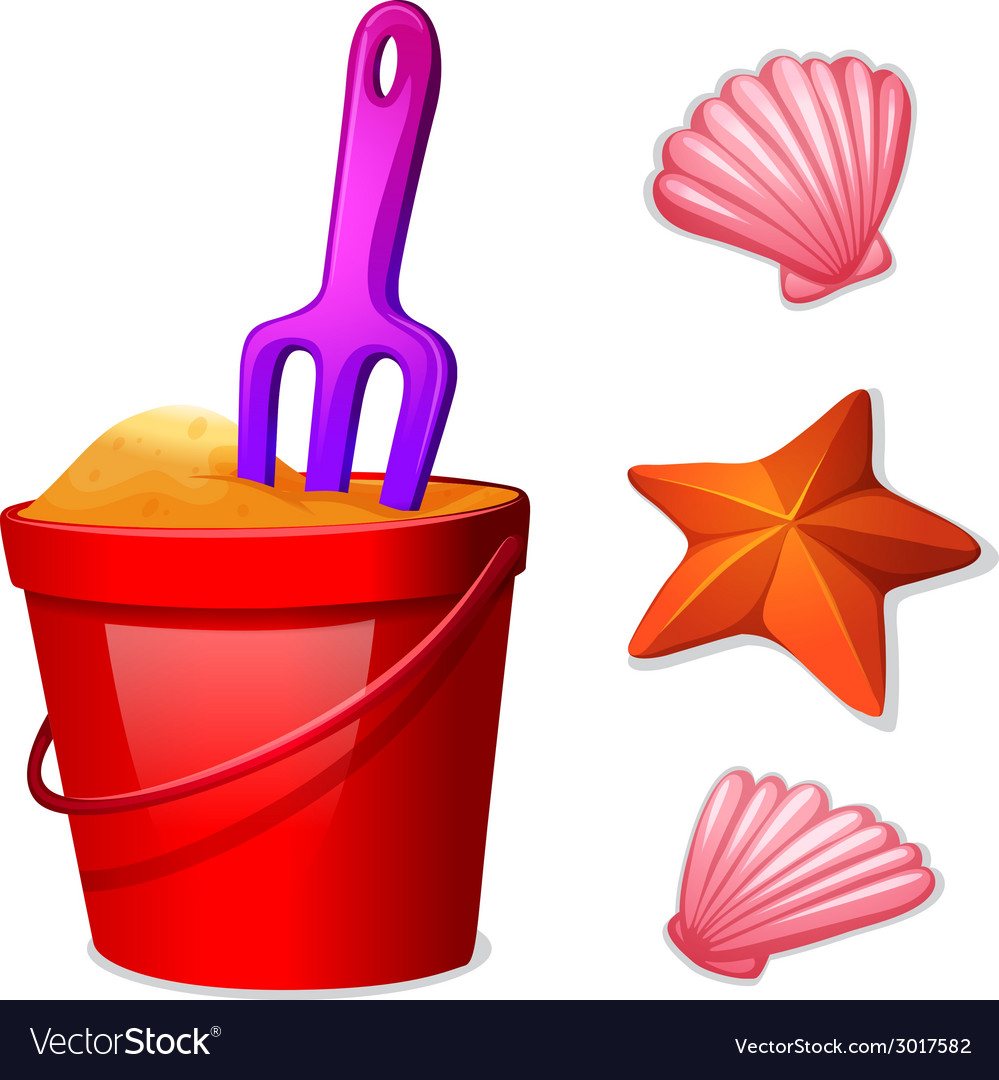 A pail of sand and the seashells vector | Price: 1 Credit (USD $1)