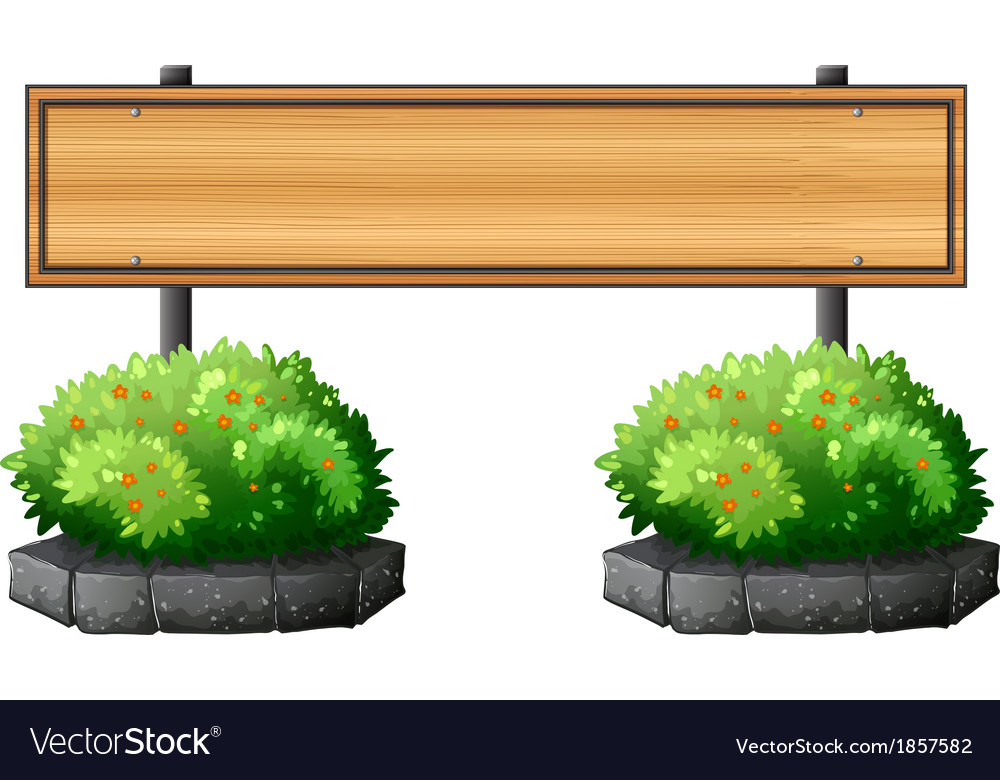 An empty signboard above the plants vector | Price: 1 Credit (USD $1)