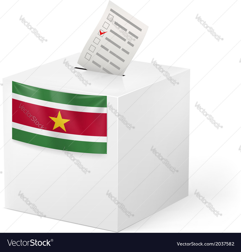 Ballot box with voting paper suriname vector | Price: 1 Credit (USD $1)