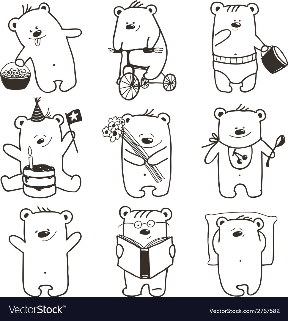 Cartoon baby bears in action collection vector | Price: 1 Credit (USD $1)