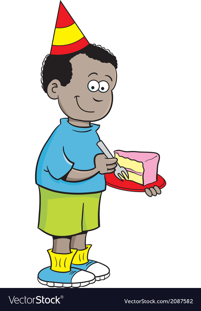 Cartoon boy eating cake vector | Price: 1 Credit (USD $1)