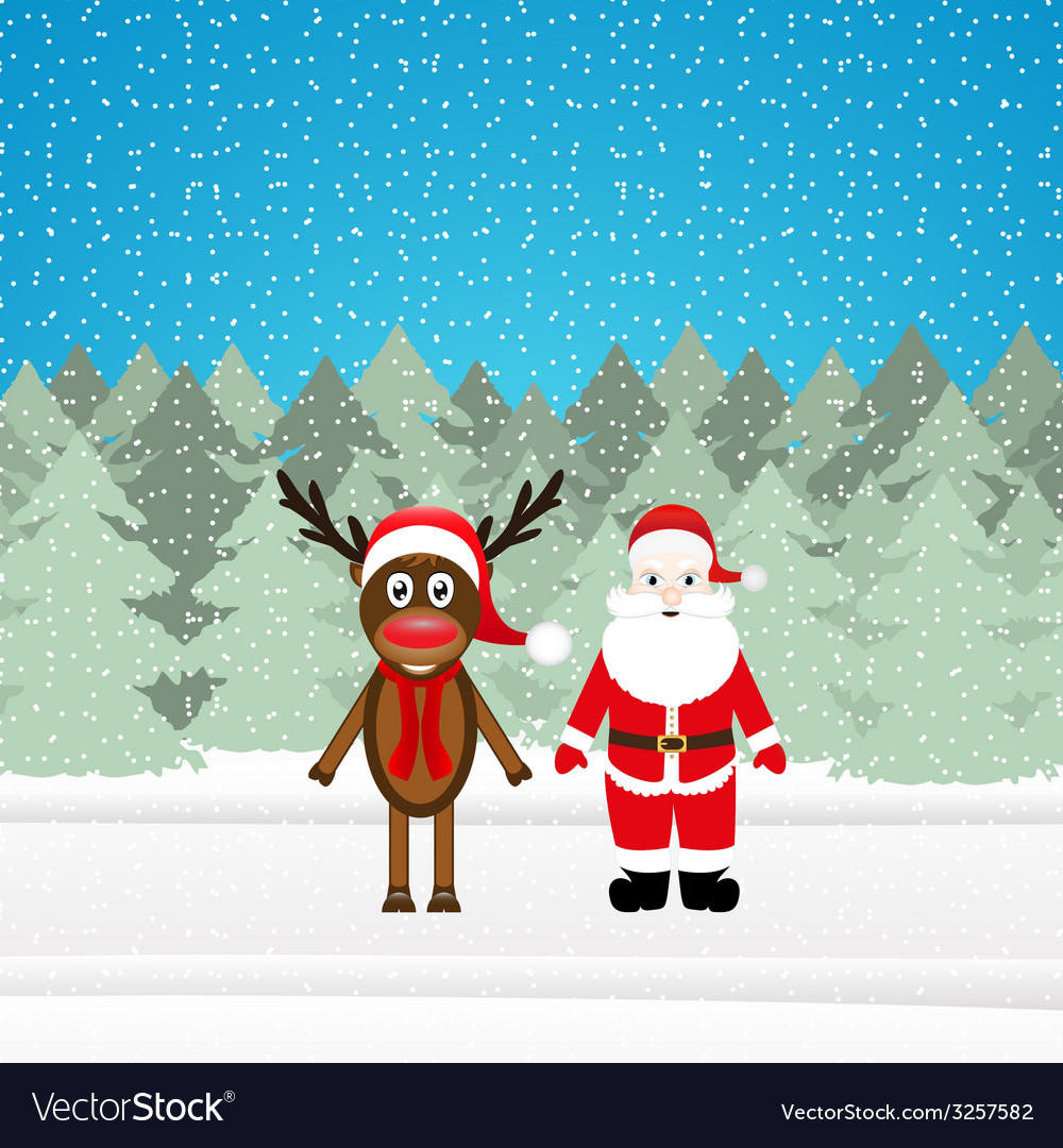 Christmas reindeer and santa claus vector | Price: 1 Credit (USD $1)