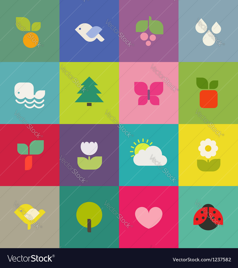 Colorful nature icons set vector | Price: 1 Credit (USD $1)