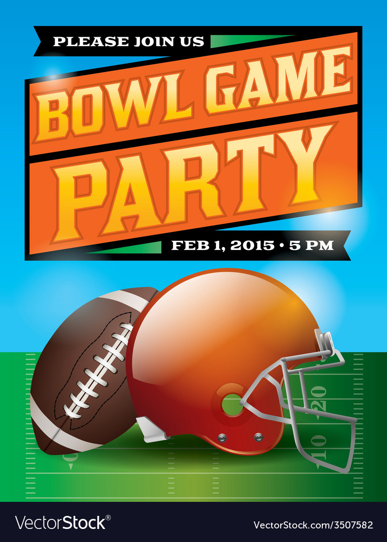 Football bowl game party flyer vector | Price: 1 Credit (USD $1)