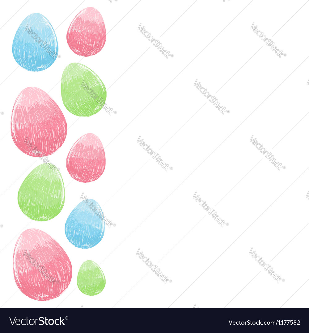 Hand drawn design easter eggs border frame vector | Price: 1 Credit (USD $1)