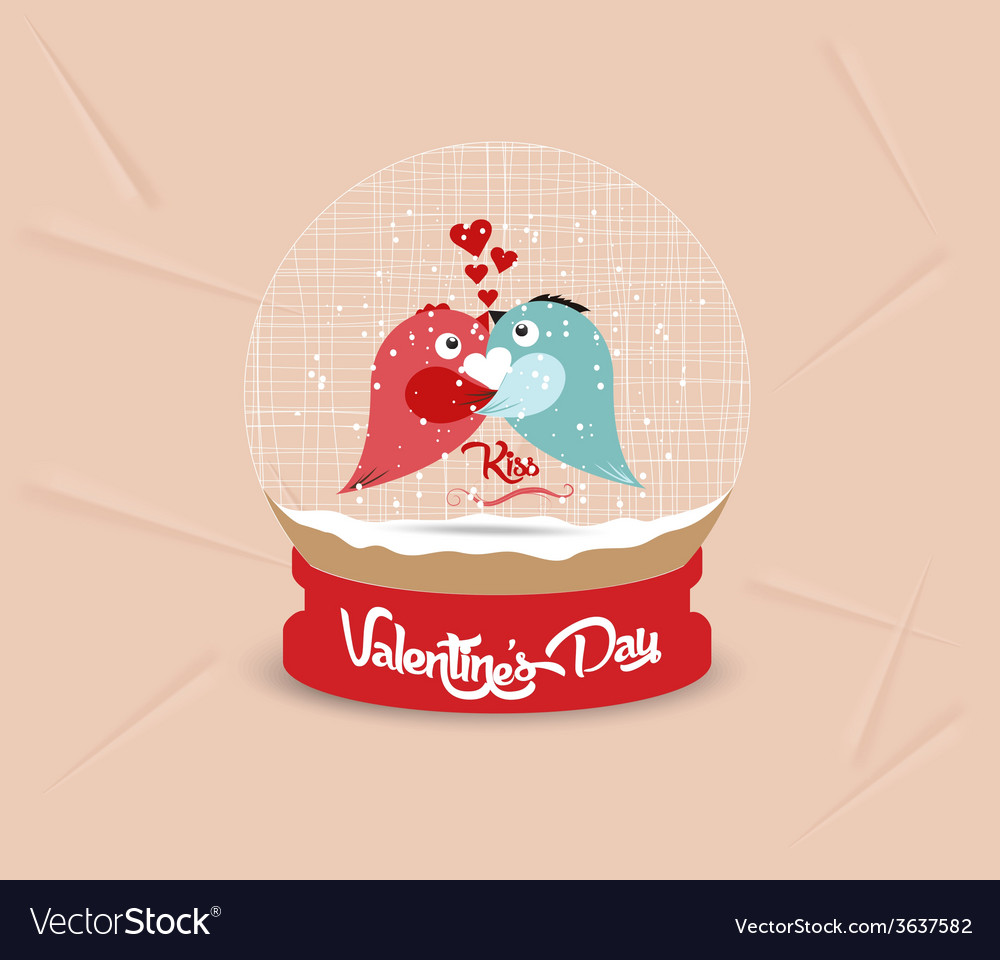 Happy valentines day with couple bird heart globe vector | Price: 1 Credit (USD $1)
