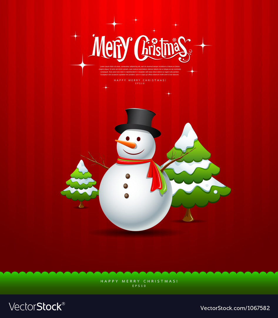 Merry christmas snowman and green tree vector | Price: 1 Credit (USD $1)