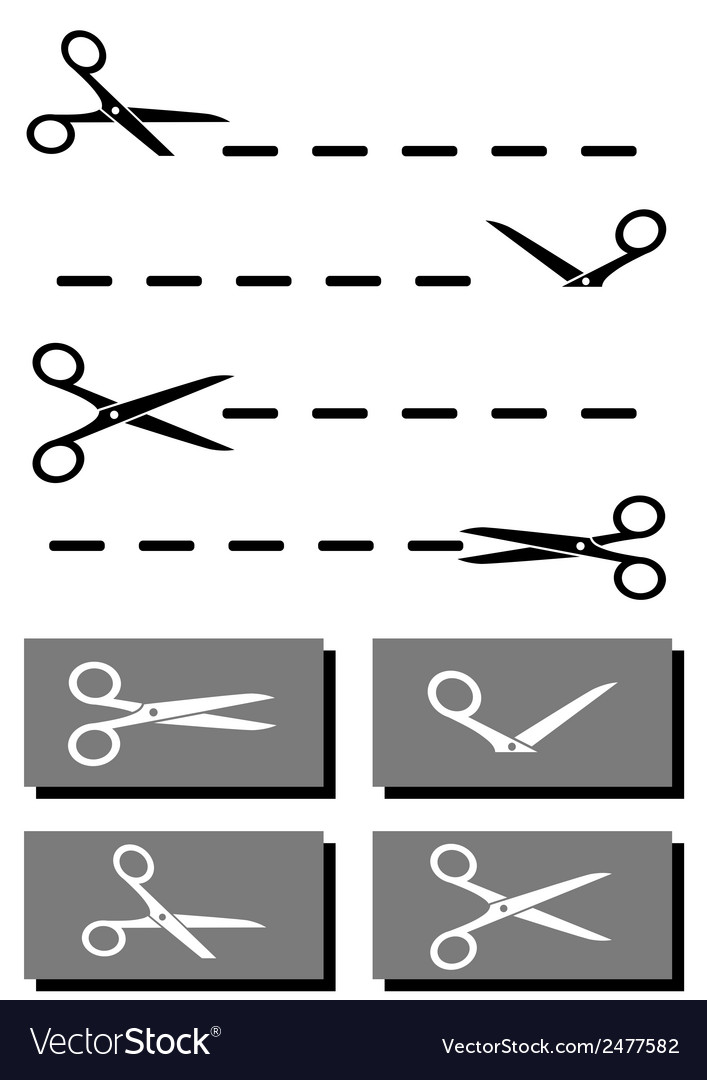 Set scissors coupon and dotted line vector | Price: 1 Credit (USD $1)