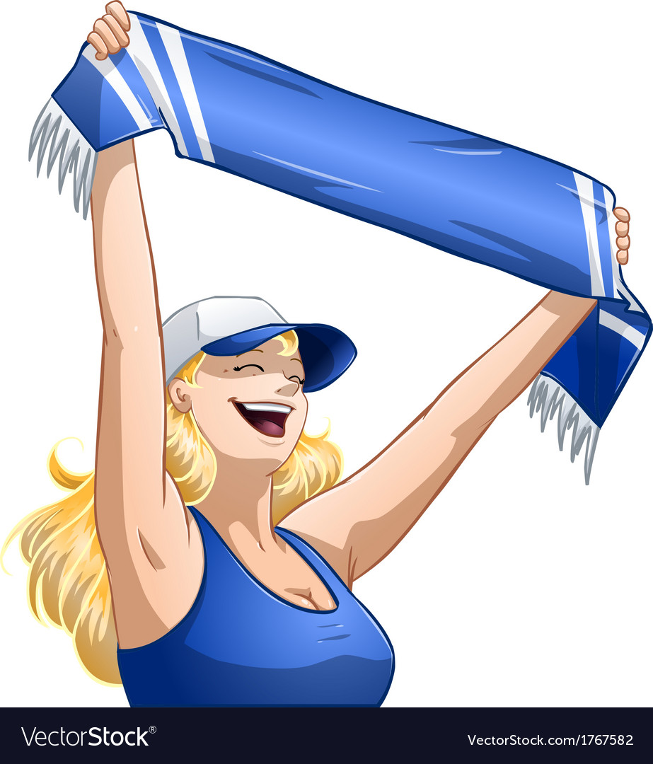 Woman holds sports team scarf and shouts vector | Price: 1 Credit (USD $1)