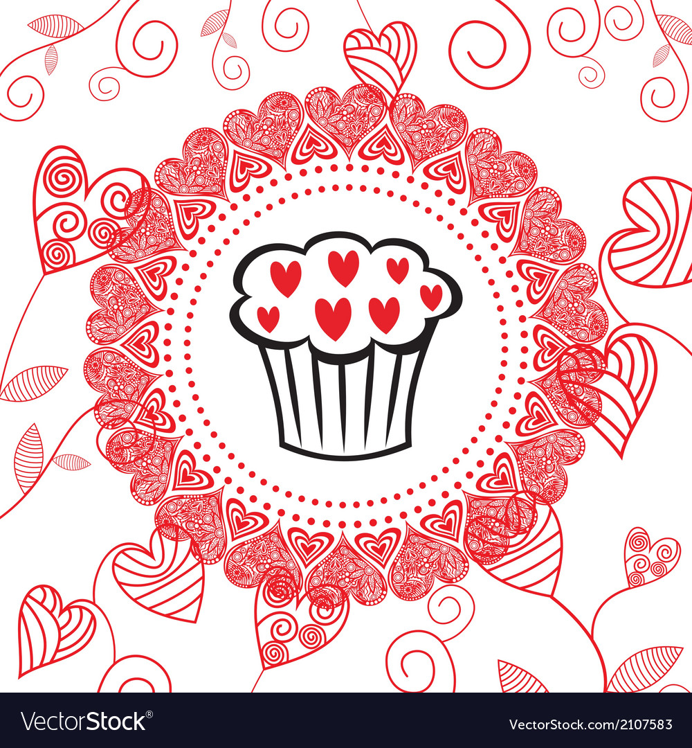 Cake romantic pattern background vector | Price: 1 Credit (USD $1)