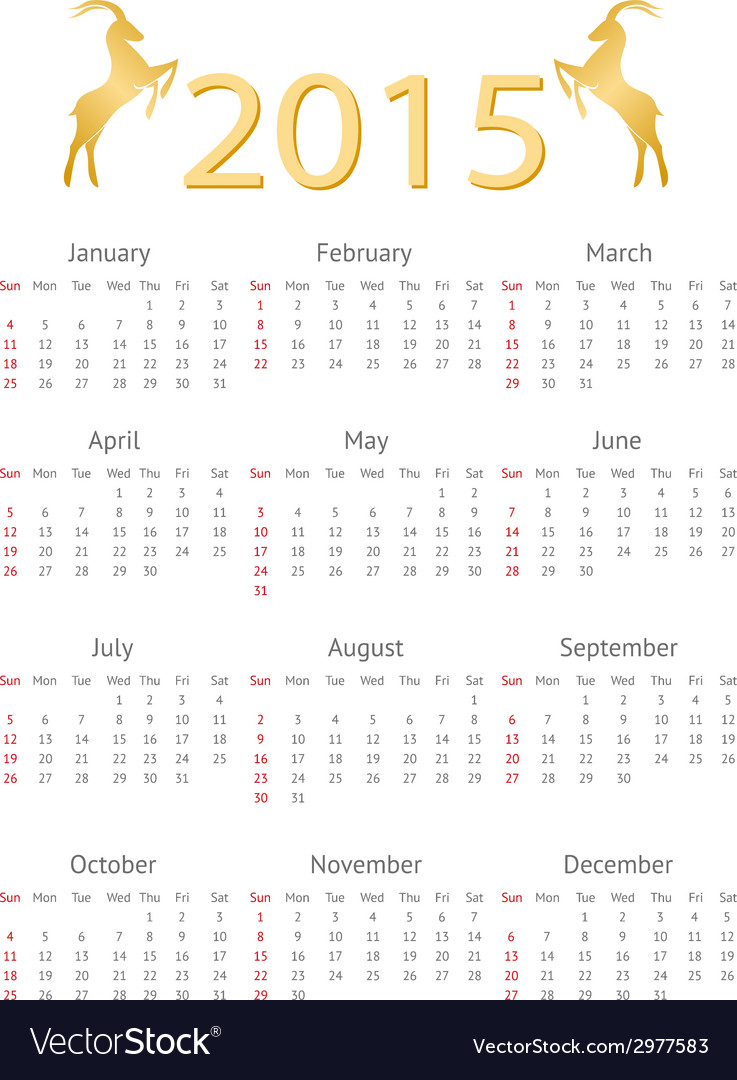 Calendar template 2015 with goat icons vector | Price: 1 Credit (USD $1)