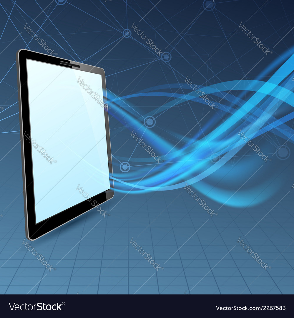 Communication run through tablet device vector | Price: 1 Credit (USD $1)