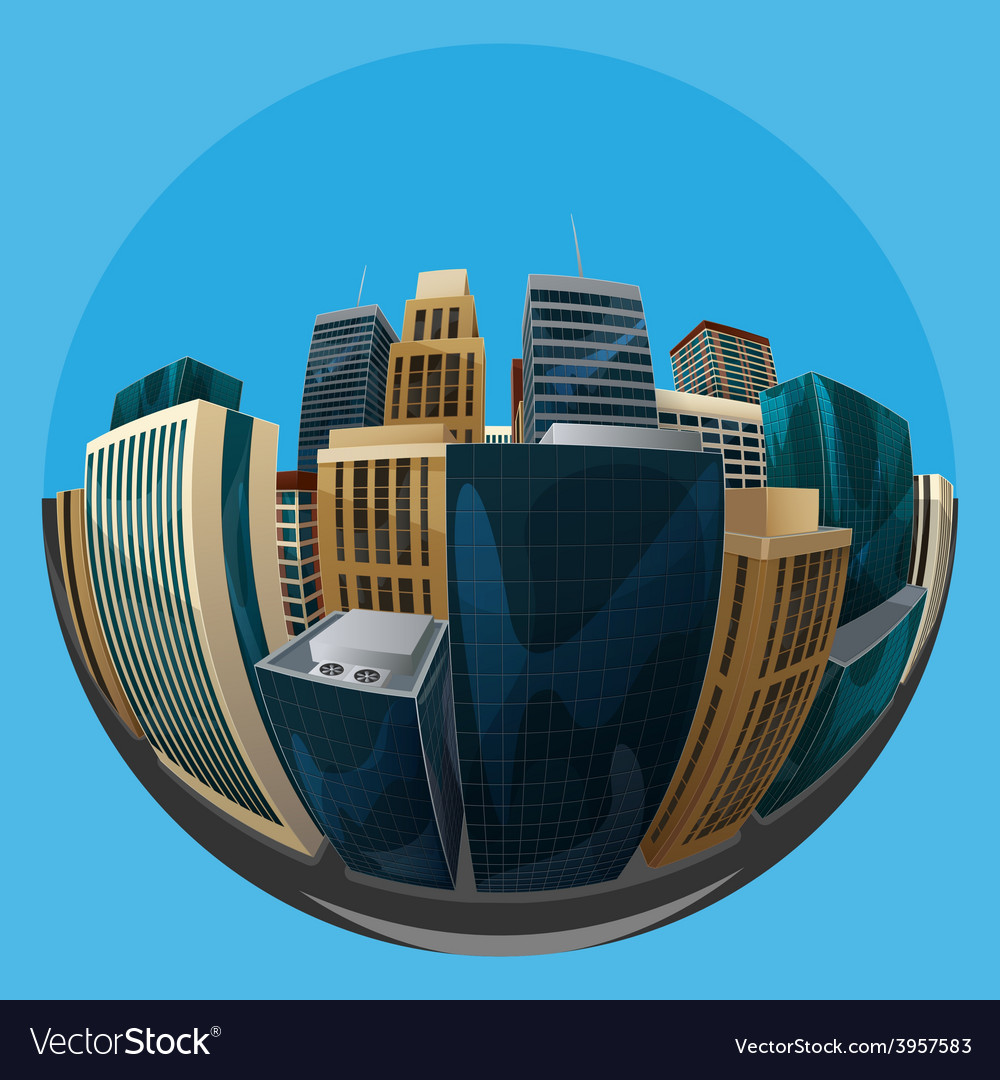 Fisheye lens cityscape view city vector | Price: 3 Credit (USD $3)