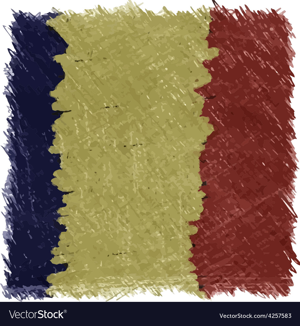 Flag of romania handmade square shape vector | Price: 1 Credit (USD $1)