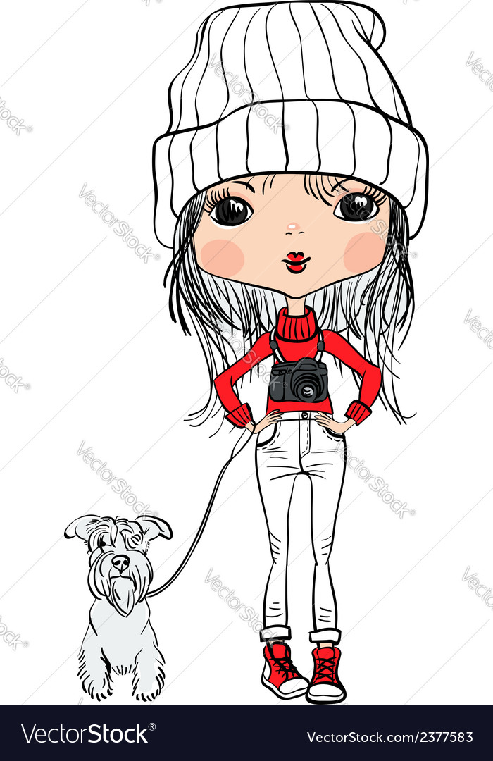 Girl with a dog and a camera vector | Price: 1 Credit (USD $1)