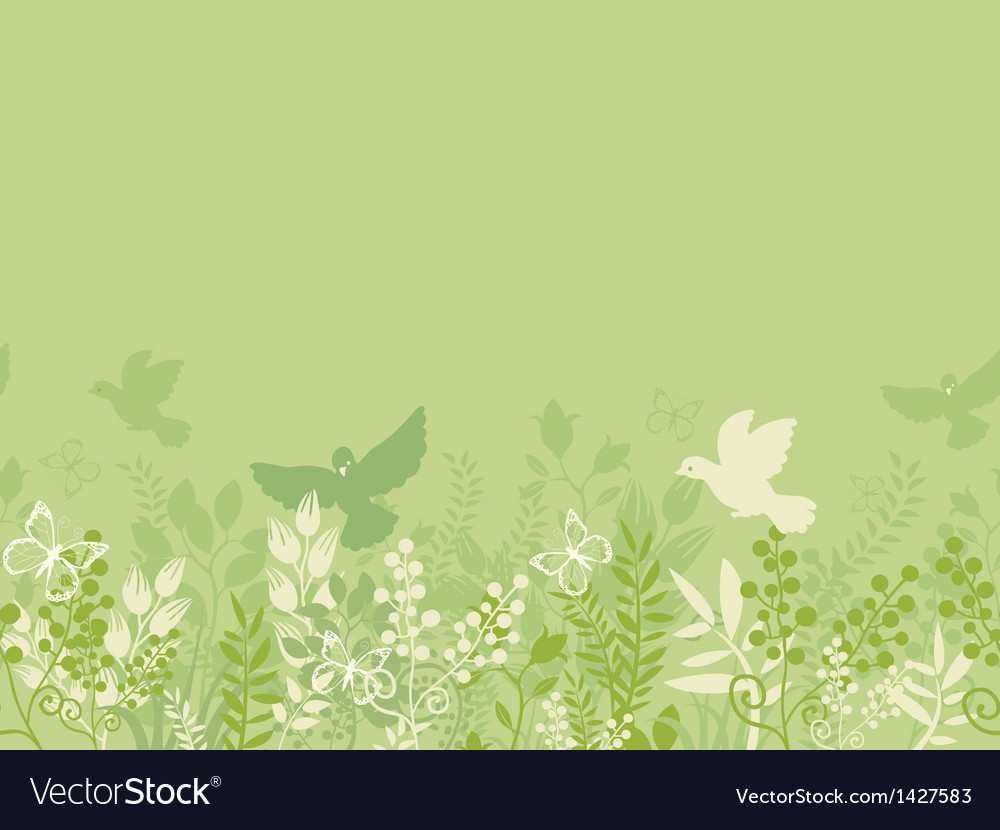 Green nature horizontal seamless pattern vector | Price: 1 Credit (USD $1)
