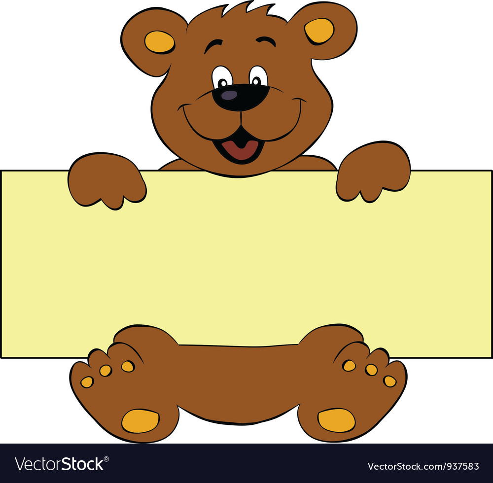 Happy bear with banner vector | Price: 1 Credit (USD $1)
