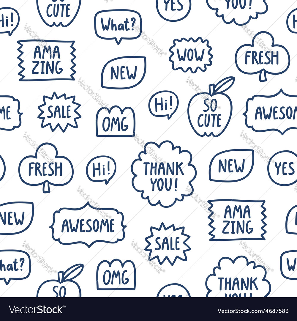 Outline phrases seamless pattern on white vector   Price: 1 Credit (USD $1)