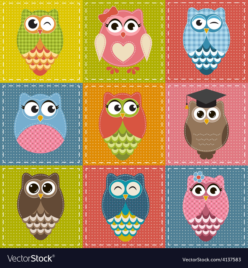 Patchwork background with owls vector | Price: 1 Credit (USD $1)