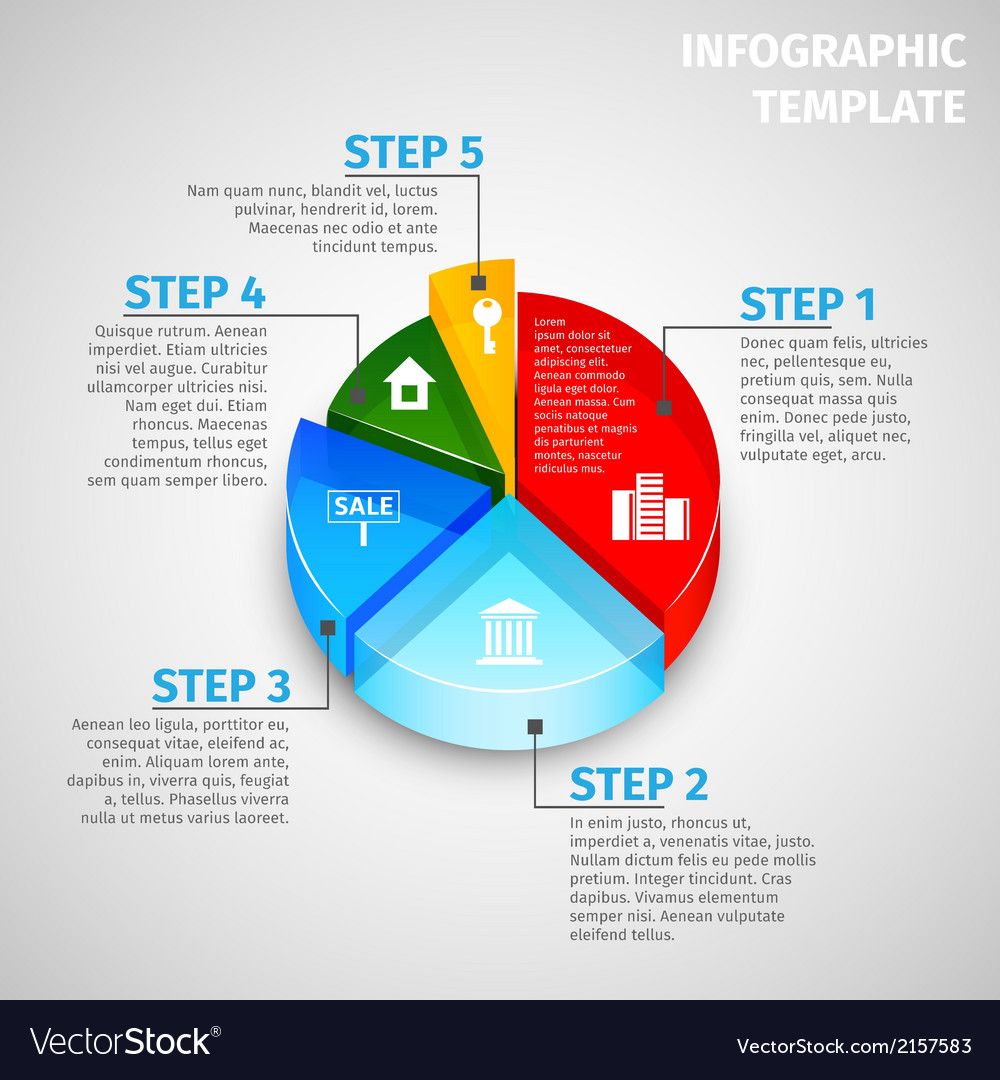 Pie chart real estate infographic vector   Price: 1 Credit (USD $1)