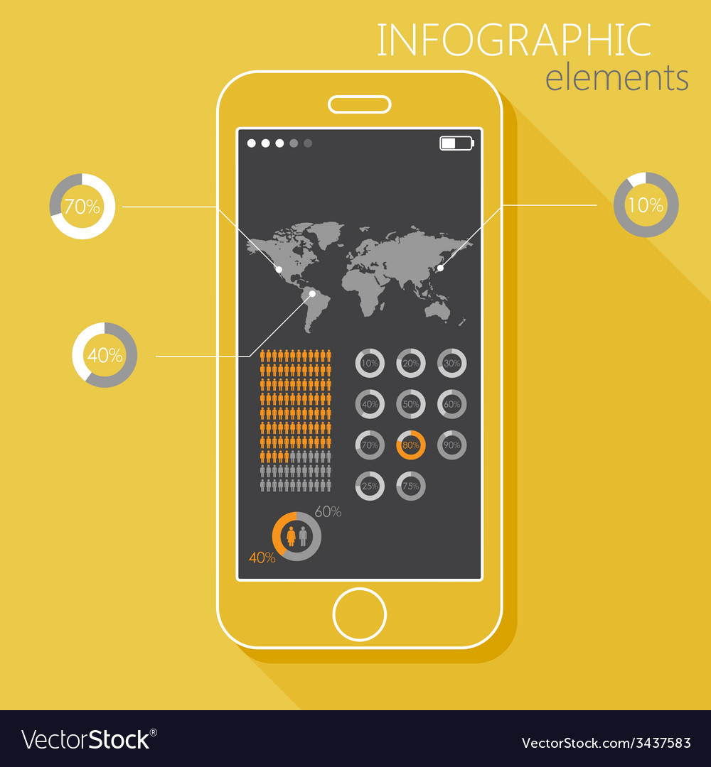 With a mobile phone set of infographic elements in vector | Price: 1 Credit (USD $1)