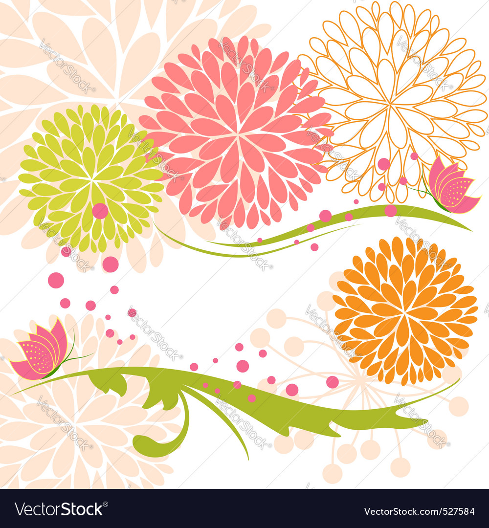 Abstract springtime colorful flower and butterfly vector | Price:  Credit (USD $)